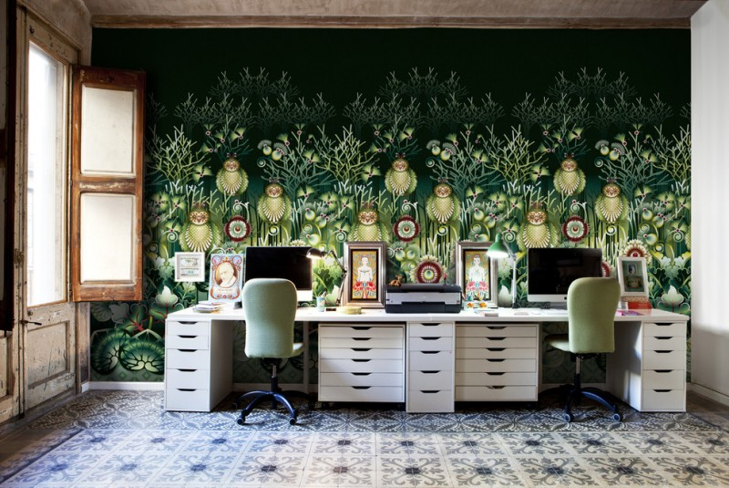 flora & fauna office wallpaper in green two sided office desk with cabinets light green working desks with wheels vintage tiled floors
