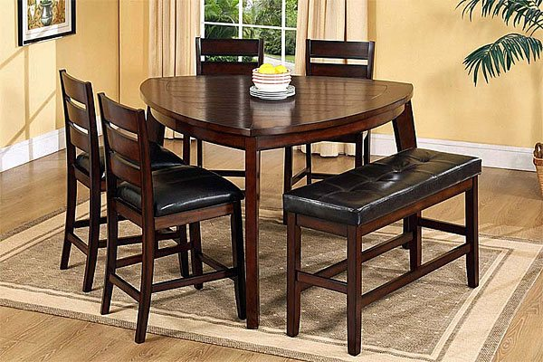 formal triangle dining table in dark wood finishing dark wood dining chairs with black leather feature