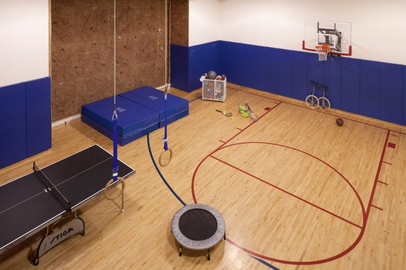 indoor exercise court consisting of basketball court table tennis trampoline
