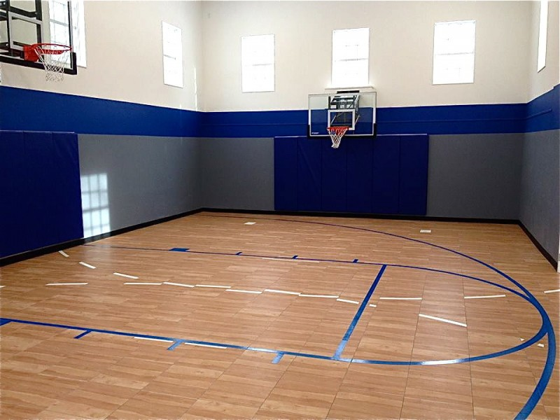 maple finishing indoor basketball court design blue grey walls
