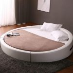 modern white round platform bed with frame