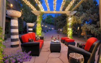 patio with sparkling pergola black red outdoor furniture set