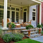 traditional exterior and porch idea natural stone skirting concrete steps