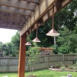traditional patio design with upside down path lighting fixtures