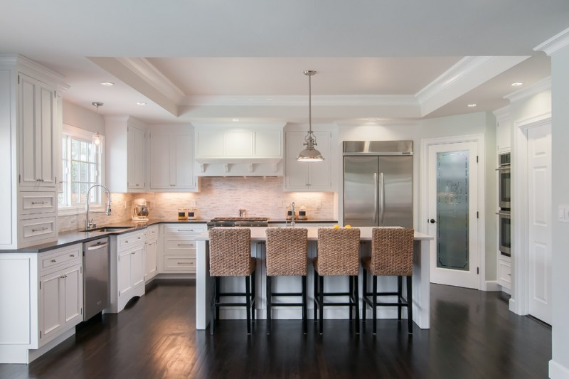 Transitional Kitchen White Kitchen Cabinets Dark Kitchen Countertop White Kitchen  Island With Hand Crafted Stools Black