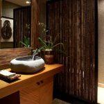 Asian style bathroom design bamboo partition concrete floors hardwood bathroom vanity with stone like sink