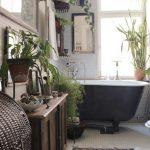 Bohemian Bathroom Design Ethnic Carpet Greens Black Bathtub Small Tiled Floors And Walls