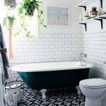 Bohemian Bathroom In Monochrom Black Clawfoot Tub Subway Tiled Walls Graphic Patterned Tiles Floorings Hanging Greenery
