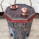 Moroccan Coffee Table With Octagon Shaped Top And Arched Legs