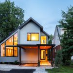 Clean Look Contemporary Exterior With Glass Windows And Door Siding Roof White Brick Hardscaping Idea