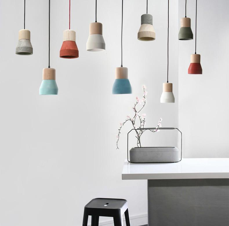 concrete wood pendants in many color choices
