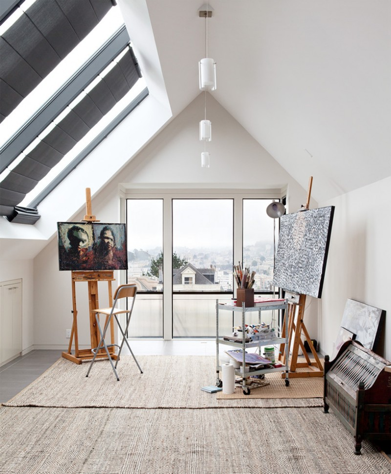 contemporary art studio in modern attic