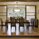 Contemporary Dining Room With Asian Appeal Shoji Screened Sliding Door With Dark Painted Wood Frames Medium Toned Wood Floors Dark Toned Wood Dining Furniture