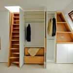 Contemporary Dressing Room In Attic Built In Walk In Closet And Shelves Wood Stairs Sloping Glass Window With Wood Frame