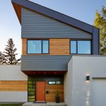 Contemporary Exterior House Light Gray Stucco Walls Natural Wood Planks Exterior Walls Silver Gray Wood Siding Exterior Walls Glass Windows With Black Trims