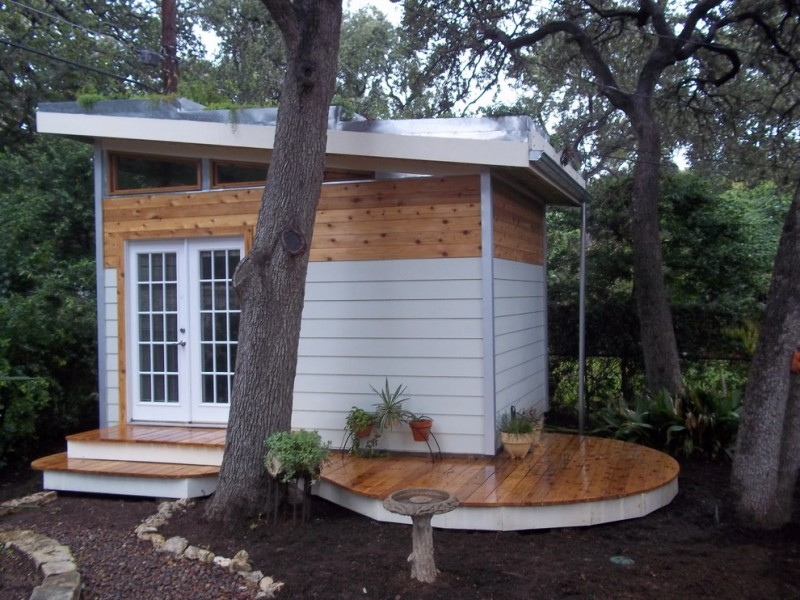 contemporary garden shed idea wood planks for wall and floor living rooftop glass windows with white trims