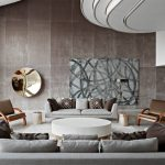 Contemporary Grey Living Room Artistic Abstract Hand Painting Artwork Grey Sofas Patterned Throw Pillows Round Shaped Decorative Pillow Unique Shaped Ceilings Grey Slate Walls