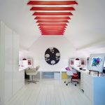 Contemporary Study Room In Attic Built In Desks In White Movable Chairs In White White Wood Planks Flooring Idea Decorative Beams In Red Built In Closet In White