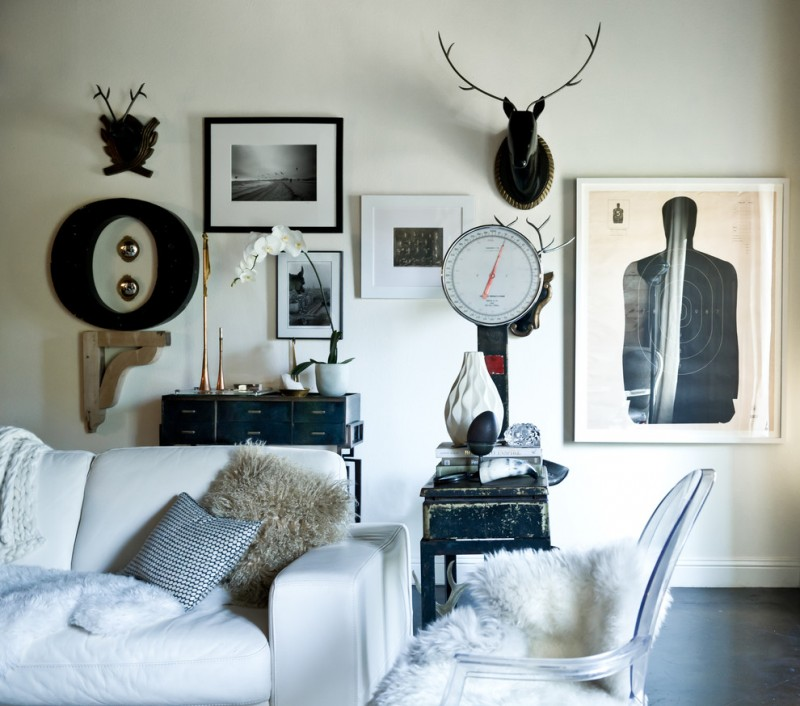 eclectic living room sleek white sofa antique black finishing console and side table