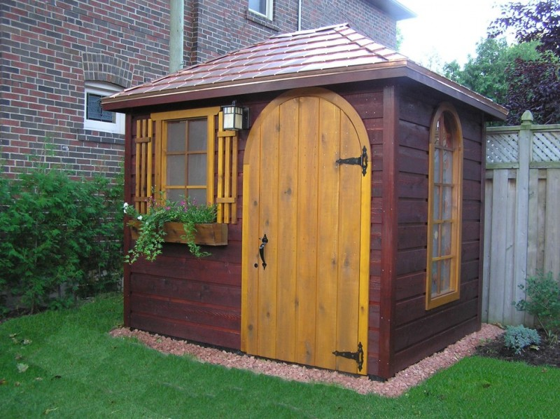 eclectic shed idea darker brown exterior walls and roofs lighter wood colored door and windows' trims