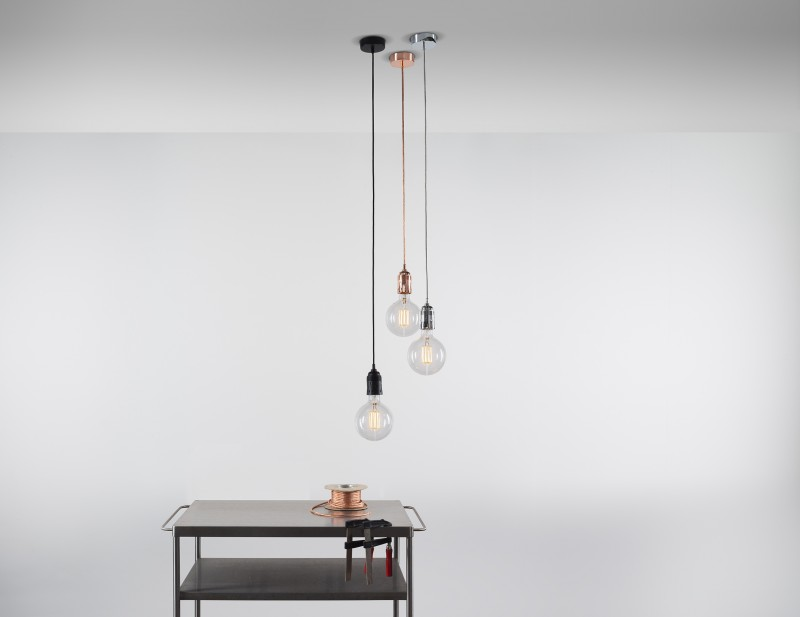 giant pendants with metallic coated cable and clear glass lampshade