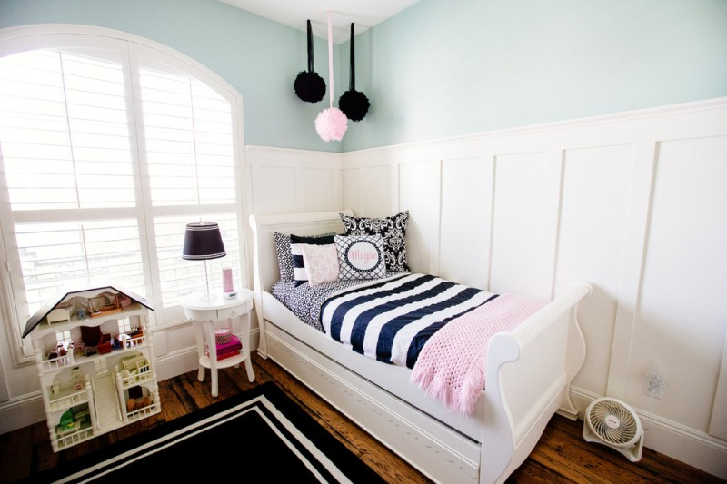 kids bedroom idea white bed frame with headboard striped black and white bedding custom pillowcases round top bedside table in white