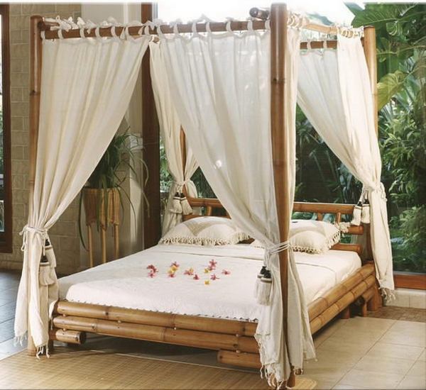 large bamboo daybed with canopy and enclosure white linen white pillows