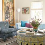 Larger Moroccan Coffee Table With Arched Legs And Pop Of Yellow Mosaic Prints