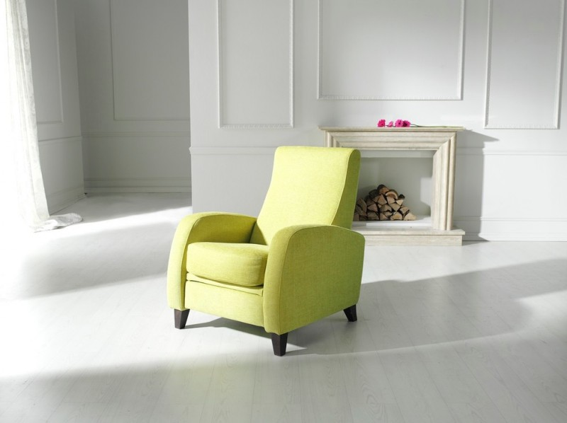 lemon green recliner chair with dark wood legs
