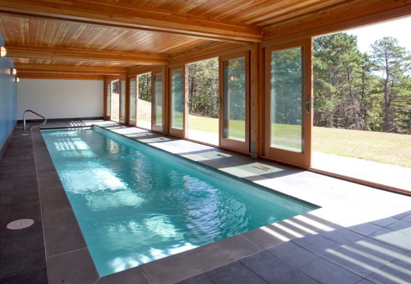 mid century modern indoor pool lower oak enclosure and glass windows