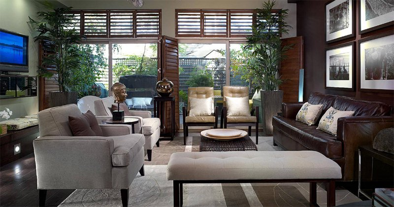 Modern Living Room With Asian Eal Grey Sofas Interior Greens Dark Wood Floors Trimmed Windows