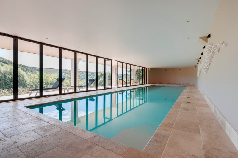 modern minimalist pool black framed glass windows soft tiled floors rectangular indoor pool clean white ceiling