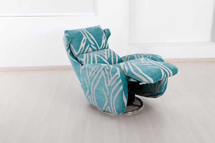 modern & pop of blue recliner chair with white accents