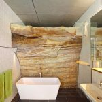 Natural Rock Wall Background Modern White Bathtub With Freestanding Stainless Steel Faucet Black Ceramic Tiled Floors White Mosaic Walls Walk In Shower With Clear Glass Panels