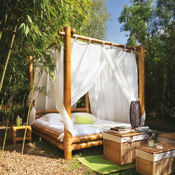 oversize bamboo daybed with canopy and white enclosure bamboo tea tables with storage