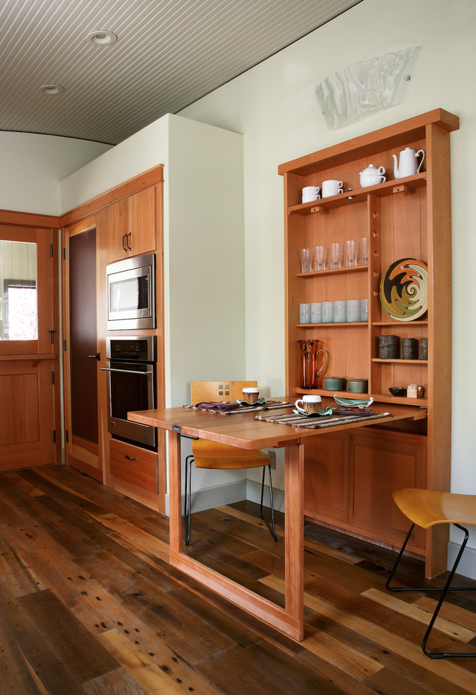 Practical Contemporary Kitchen Wall Mounted Table Wood Cabinet Minimalist Chairs Reclaimed Floors