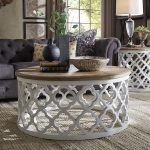 Round Wood Top Moroccan Coffee Table With Carved And See Through Base In White