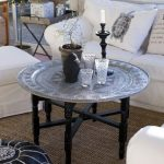 Silver Finishing Moroccan Coffee Table With Round Top And Hand Crafting Legs