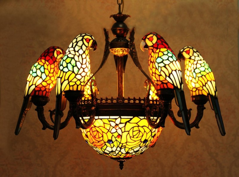 six arms parrots stained glass chandelier with inverted pendant