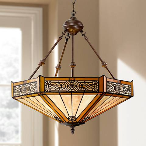 stained glass chandelier with bronze support