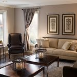 Tanned Living Room Pashmina Wall Color Architectural Print Wall Arts Glossy Brown Curtains Black Leather Wing Chair Black Iron Bird Cage Centerpiece Light Cream Sofa Dark Brown Wood Coffee Tea Tables