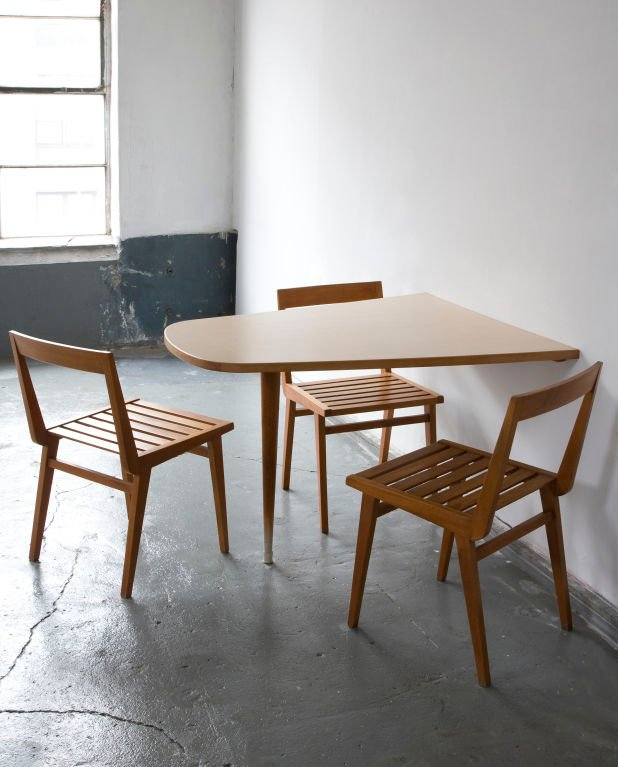 thin & wall mounted wood table wood dining chairs