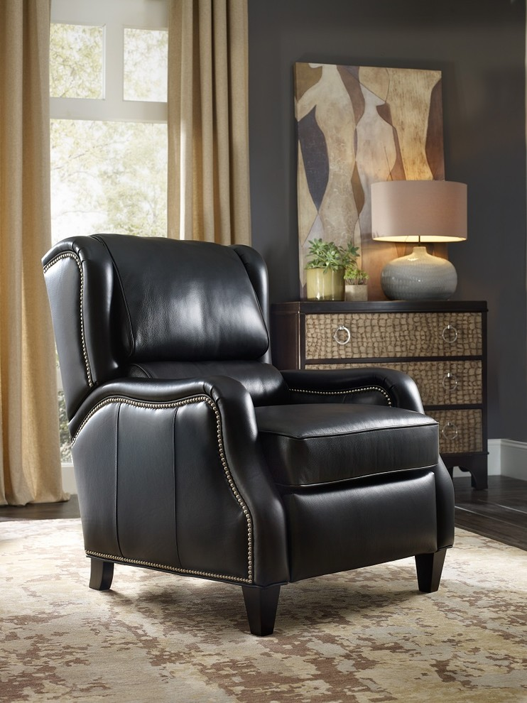 traditional black leather recliner chair with nail trims