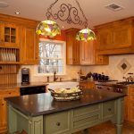 Traditional Kitchen Design Wood Kitchen Cabinetry Granite Countertop Soapstone Top Kitchen Island Stained Glass Chandeliers