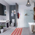 Scandinavian Bathroom Design Dominated By Light Gray Shade Light Gray Subway Tiles Wall Light Gray Wood Planks Floors Freestanding Sink White Framed Mirror Run Rug With Orange Motifs