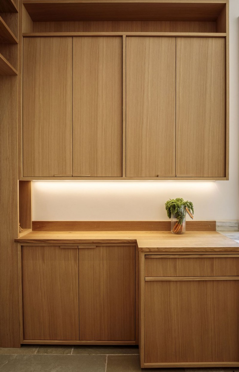 clean look and warm kitchen idea wood kitchen cabinets and countertop concealed lighting under cabinets