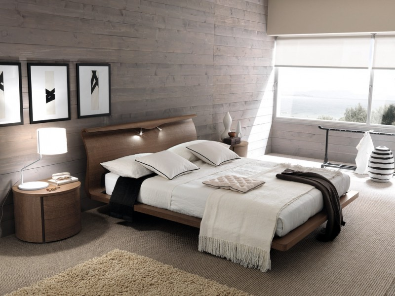 contemporary bedroom idea gray planks wall gray carpeted floor warm toned shag rug wood bed frame with curly headboard contemporary bedside tables in round shape