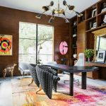 Contemporary Home Office With Home Panelings Black Finish Working Desk Contemporary Chairs Gray Lounge Chairs Bold Colored Carpet Contemporary Brass Chandelier