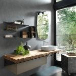 Darker Scandinavian Bathroom Floating Bathroom Vanity With Wood Countertop Frameless Mirror Wall Mounted Open Shelving Units Gray Painted Concrete Walls Gray Cement Floors