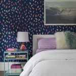 Fun Colored Wallpaper Oceanic Blue Bedside Table White Bedding Treatment Pink Pillows Fury White Pillow Woven Fabric Carpet